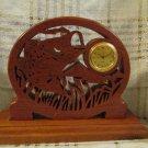 Vintage Wood Clock Openwork Fish Carved Detailed