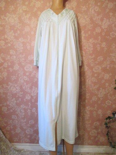 Miss Elaine Vintage Robe Zip Front Lounger Long Aqua Smocked S M Long Sleeve Cotton Blend