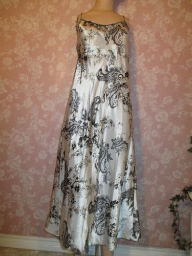 Jones New York Satin Nightgown Dress Stunning Black White Gold Print Long Full Sweep Large Med