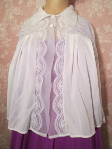 Henson Kickernick Vintage Bed Jacket Short Robe XL Bridal White Lacy Chiffon Sheer Nylon