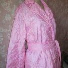 Hahne Vintage Pink Satin Robe Quilted Long floral design S M Matelassé