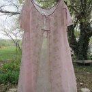 Vintage Chiffon Lace Sheer Peignoir Robe Lilac Cream Lace Short Tent S M Split Flutter Sleeve