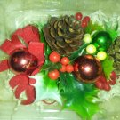 Vintage Christmas Corsage NIB Pinecones Ornaments Holly Velvet Ribbon Never Used Holiday Decor