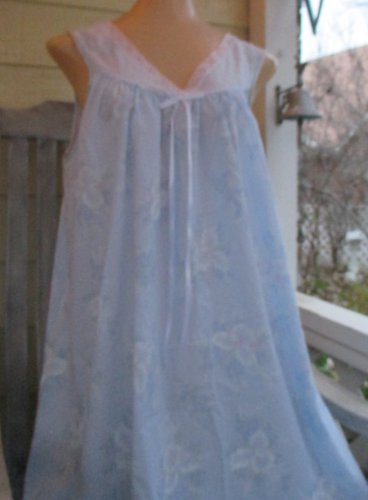 Lorraine Vintage Nightgown NWT blue floral Cotton Short Sleeveless Large