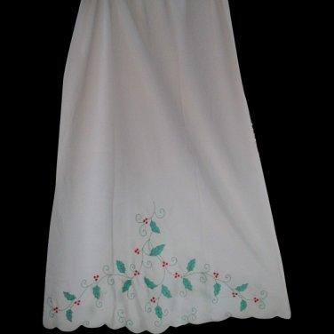 Odette Barsa Matej Vintage Christmas Half Slip Holly Berries Small Med TALL Hand embroidered