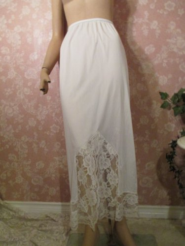 Greenco Maid Vintage Half Slip Long Floor Length Formal Wide Lace 50s S M As Is White