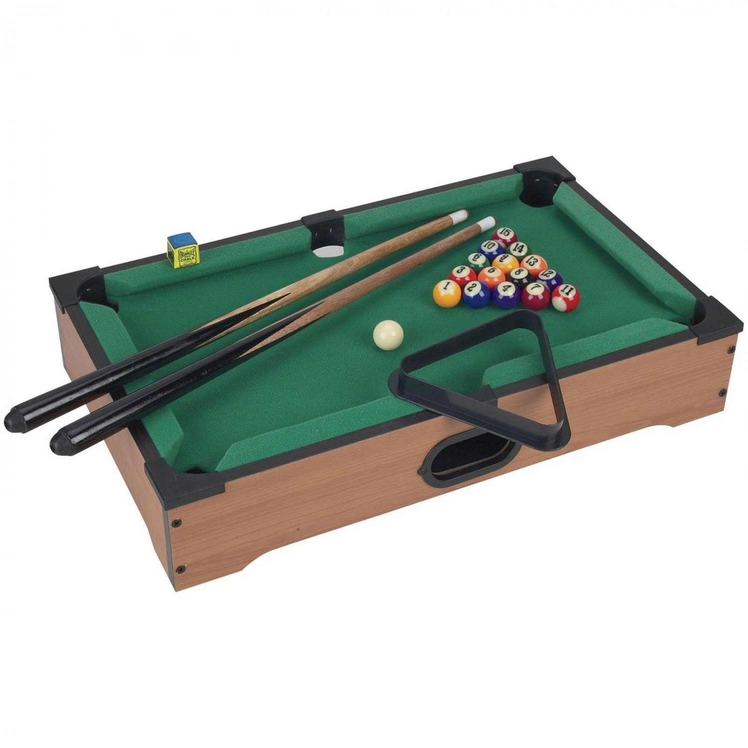 Mini Table Top Pool Table with Cues, Triangle Chalk 1 fathers day gifts Set