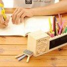 Wooden Pen Holder with Blackboard Desk Tidy Organizer Pen Pot Office Accessories