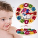 Wooden 12 Number Clock Toy Baby Colorful Puzzle Digital Geometry Clock Education