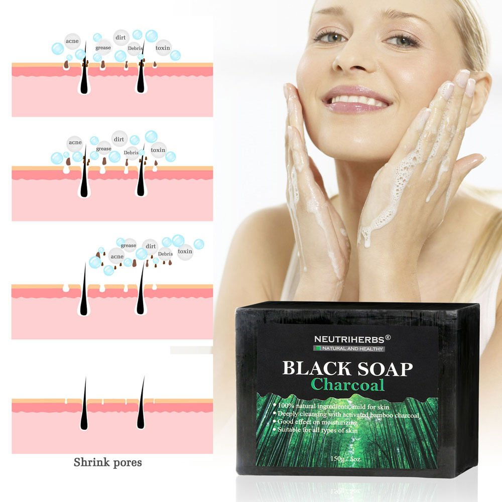 Black Gentle Bamboo Charcoal Soap Removal Oil beauty Bath Body