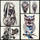 1PC Snowy Owl Hedwig Design Large Arm Tattoo Sleeve Flash Temporary Tattoo Stick