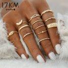17KM 12 pc/set Charm Gold Color Midi Finger Ring Set for Women Vintage Boho Knuc