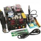 Saike 220V 909D+ Rework Soldering Station + Hot Air Gun + DC Power Supply  3 in