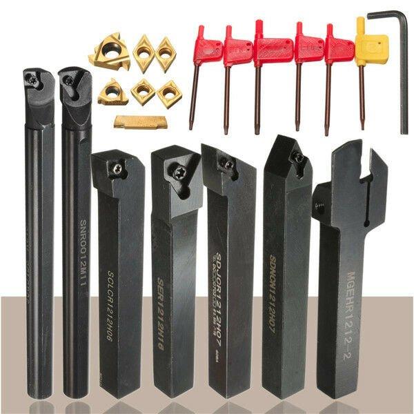 7pcs 12mm Shank Lathe Set Boring Bar Turning Tool Holder Kit With Carbide Insert