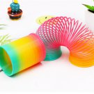 Plastic Rainbow Circle Folding Coil Colorful Spring Children Funny Classic Toy Development Toys Gift