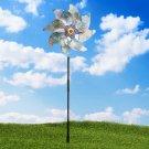 8 Sheets Bird Repeller Windmill Sparkly Silver Pinwheels Bird Deterrent For Garden Party Lawn Decor