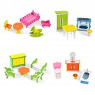 Wooden Colorful DIY Assembly Doll House Furniture Kit Early Educational Learning Toys for Kids Gift