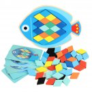 Wood DIY Assembly Jigsaw Puzzle Toy Colors Shapes Cartoon Fish Owl Matching Cards Toy for Children L