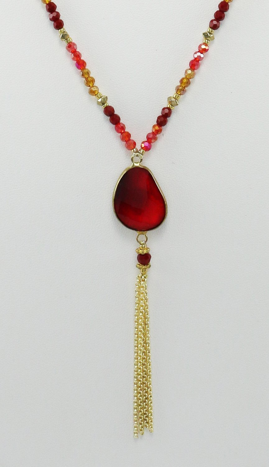 Handmade Brass And Polyester Necklace Beaded With Crystal Glass - Red Siam Color
