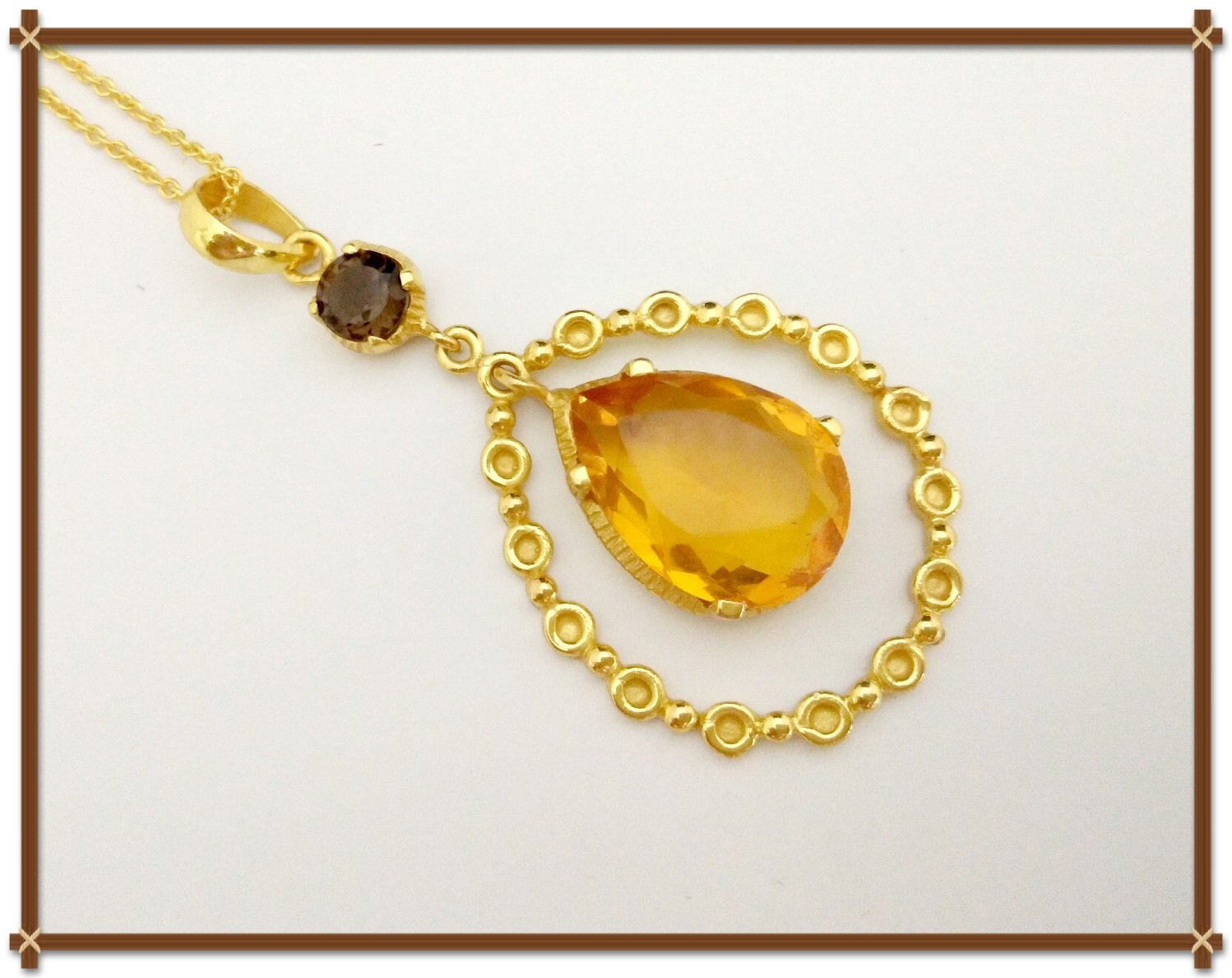 18k Yellow Gold Desire Necklace With Smoky Quartz Semi Gemstones And Citrine