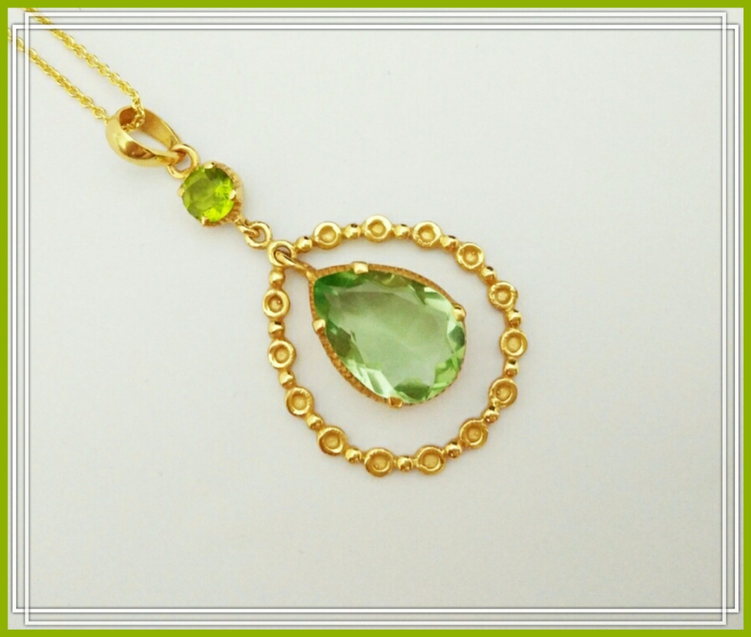 18k Yellow Gold Desire Necklace With Green Amethyst Semi Gemstone And Peridot