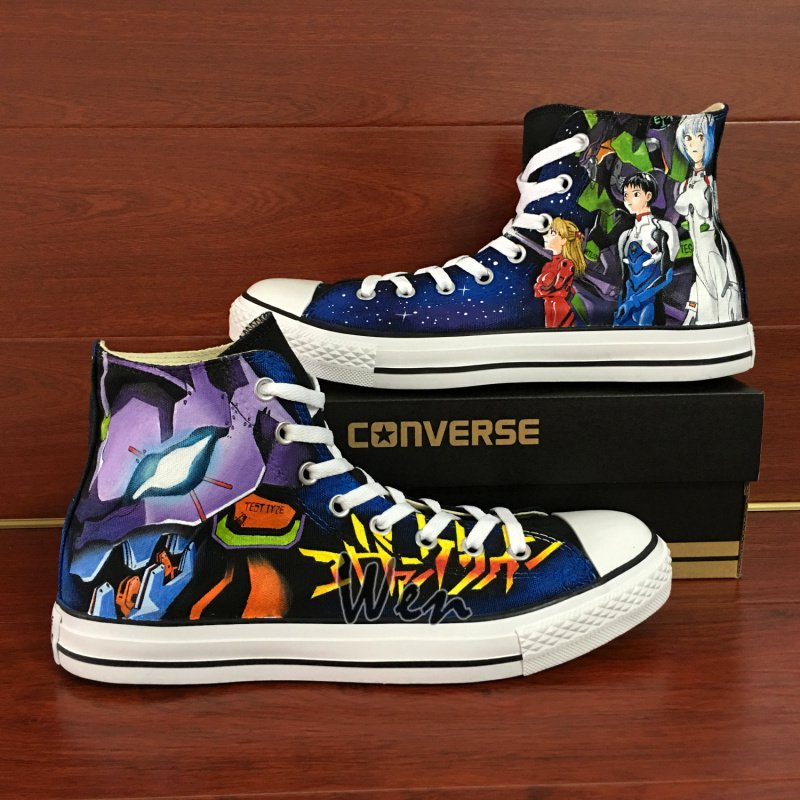 Anime Converse Shoes Neon Genesis Evangelion Hand Painted Canvas Sneakers Unique Christmas Gifts
