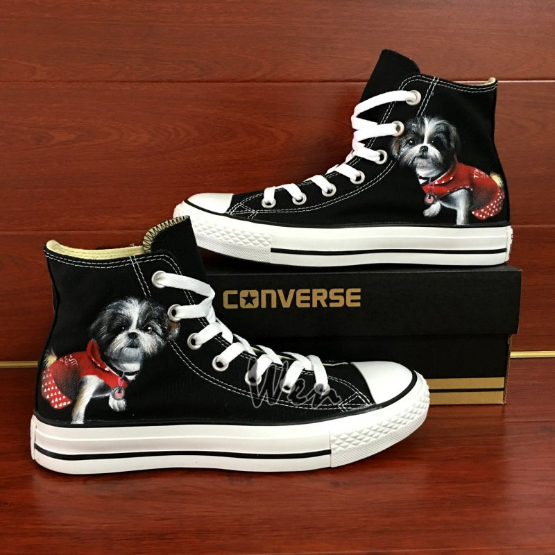 Pet Dog Converse Custom Hand Painted Shoes Black High Top Canvas Sneakers Unique Presents