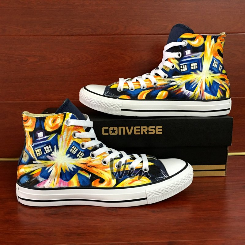 Exploding Tardis Converse All Star Custom Hand Painted Shoes Unique Canvas Sneakers Gifts