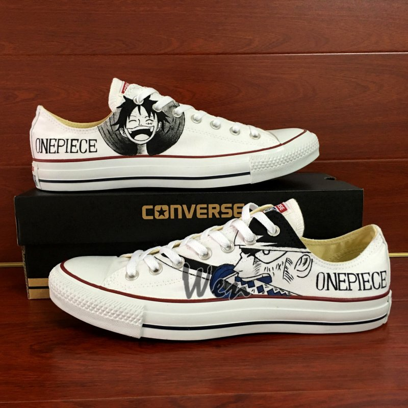 One Piece Converse Hand Painted Shoes Custom Luffy Zoro Low Top White Canvas Sneakers Unique Gifts