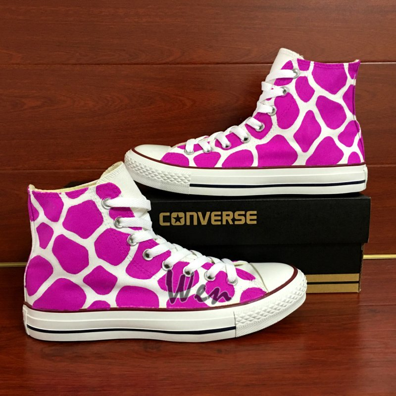 Original Design Converse Hand Painted Shoes Giraffe Print High Top Canvas Sneakers Unique Gifts