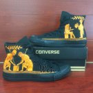 Custom Converse Shoes Men Women Hand Painted Shoes Red-Figure High Top All Black Canvas Sneakers