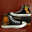 Custom Hand Painted Shoes Converse Cleopatra Egyptian Pharaoh Black High Top Canvas Sneakers