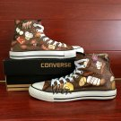 Original Design Hand Painted Shoes Chocolate High Top Converse All Star Canvas Sneakers Presents