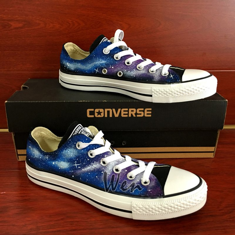 Custom Low Top Converse Galaxy Nebular Hand Painted Shoes Unique Fashion Canvas Sneakers Men Women