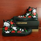 Unique Converse Sneakers Roses Skulls Custom Hand Painted Shoes All Black Canvas Shoes Gifts