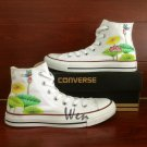 Custom Design Lotus Converse All Star Shoes Men Women Hand Painted Canvas Shoes Fashion Sneakers