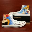 Anime Shoes Converse Chuck Taylor One Piece Luffy Ace High Top Hand Painted Canvas Sneakers Gifts