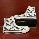 Original Design Hand Painted Converse Shoes Sharks High Top Canvas Sneakers Unique Gifts
