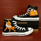 Black Converse All Star Pokemon Jolteon Fox Custom Hand Painted Canvas Shoes Unique Presents