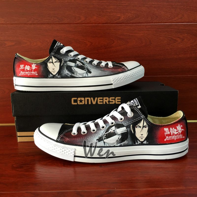 Unique Low Top Converse Shoes Black Butler Custom Hand Painted Canvas Sneakers Mens Womens Gifts
