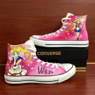 Pink Converse All Star Sailor Moon Hand Painted Shoes High Top Canvas Sneakers Womens Gifts