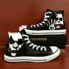 Black High Top Converse Sneakers Joker Hand Painted Shoes Unique Canvas Casual Shoes Gifts