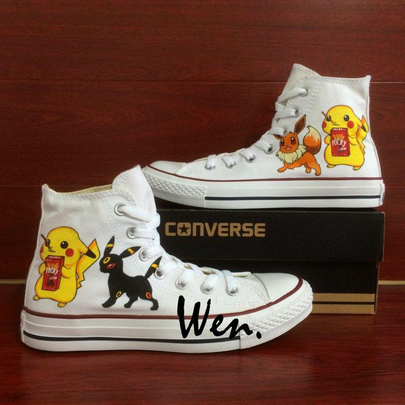 White Converse Chuck Taylor Men Women Pokemon Pikachu Eevee Umbreon Hand Painted Canvas Shoes
