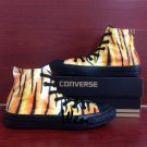 Men Women Unique Sneaker Tiger Print Converse Hand Painted Shoes All Black Canvas Sneakers Gifts
