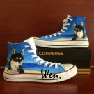 Pet Dog Husky At The Beach Hand Painted Shoes Converse Custom Design High Top Canvas Sneakers