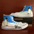 Cute Penguin Hand Painted Shoes Men Women High Top Converse Chuck Taylor Canvas Sneakers Gifts
