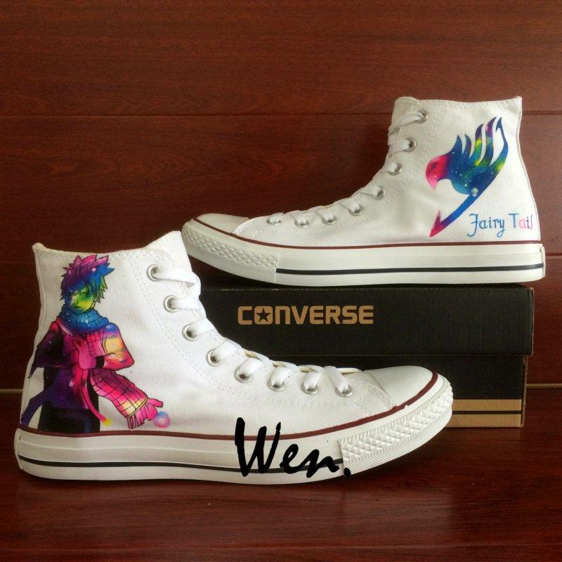 Fairy Tail Natsu White Converse Shoes Hand Painted Canvas Sneakers Men Women Unique Casual Shoes