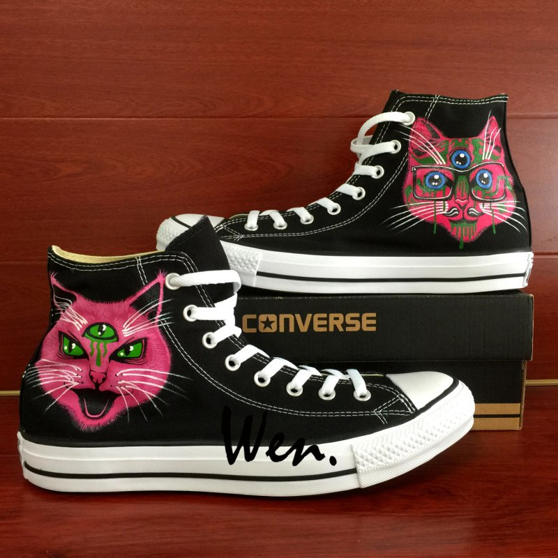 Custom Design Converse Cat Three Eyes Hand Painted Shoes High Top Canvas Sneakers Unique Gifts