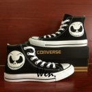 Smiling Skeleton Black Converse All Star Hand Painted Shoes Unique Canvas Sneakers Gifts