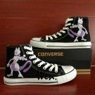 Pokemon Go Mewtwo Converse Chuck Taylor Hand Painted Shoes Black Canvas Sneakers for Men Women